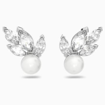 Louison Pearl Pierced Earrings, White, Rhodium plated - Swarovski, 5422683