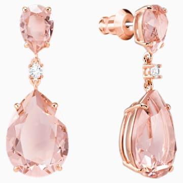 Vintage 水滴形穿色耳環, 粉紅色, 鍍玫瑰金色調 - Swarovski, 5424361