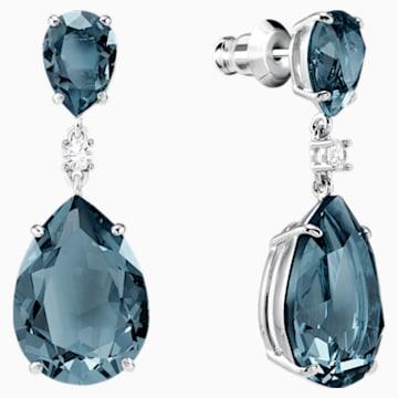 Boucles d'oreilles drop Vintage, bleu canard, Métal rhodié - Swarovski, 5424362