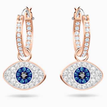 Swarovski Symbolic Evil Eye Hoop Pierced Earrings, Multi-coloured, Rose-gold tone plated - Swarovski, 5425857