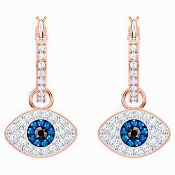 Orecchini a cerchio Swarovski Symbolic Evil Eye, blue, placcato oro rosa - Swarovski, 5425857