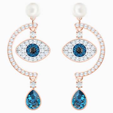 Luckily Evil Eye 穿孔耳環, 藍色, 鍍玫瑰金色調 - Swarovski, 5425860
