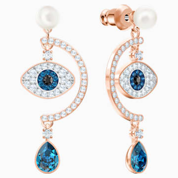 Luckily Evil Eye Pierced Earrings, Multi-coloured, Rose-gold tone plated - Swarovski, 5425860