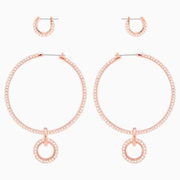 Stone Pierced Earring Set, Pink, Rose-gold tone plated - Swarovski, 5426004