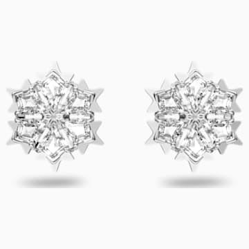 Magic İğneli Küpeler, Beyaz, Rodyum kaplama - Swarovski, 5428430
