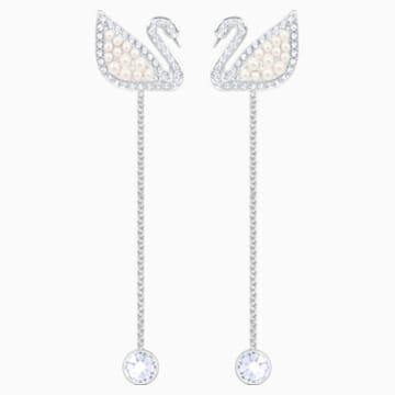 Kolczyki sztyftowe Swarovski Iconic Swan, białe, powlekane rodem - Swarovski, 5429270