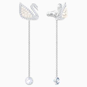 Swarovski Iconic Swan İğneli Küpeler, Beyaz, Rodyum kaplama - Swarovski, 5429270