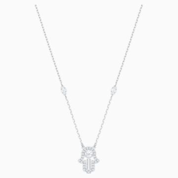 Luckily Hamsa Hand Necklace, White, Rhodium plated - Swarovski, 5429731