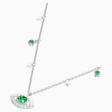 Luckily Necklace, Green, Rhodium plated - Swarovski, 5429734