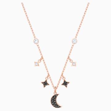 Collier Swarovski Symbolic Moon, noir, Métal doré rose - Swarovski, 5429737
