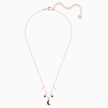 Swarovski Symbolic Moon 項鏈, 黑色, 鍍玫瑰金色調 - Swarovski, 5429737
