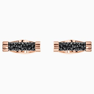 Crystaldust Cufflinks, Black, Rose-gold tone plated - Swarovski, 5429902