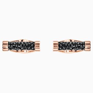 Manžetové knoflíky Crystaldust, černé, pozlacené růžovým zlatem - Swarovski, 5429902