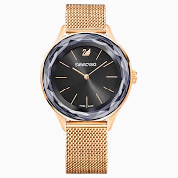 Zegarek Octea Nova, bransoleta Milanese, czarny, powłoka PVD w odcieniu różowego złota - Swarovski, 5430424