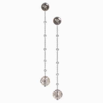 Concentric Long Earrings, Swarovski Crystal & Swarovski Created Diamonds, 18K White Gold - Swarovski, 5430507