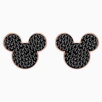 Mickey & Minnie-steekoorbellen, Zwart, Roségoudkleurige toplaag - Swarovski, 5435137