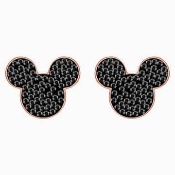Pendientes Mickey & Minnie, negro, Baño en tono Oro Rosa - Swarovski, 5435137