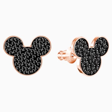 Mickey & Minnie Pierced Earrings, Black, Rose-gold tone plated - Swarovski, 5435137