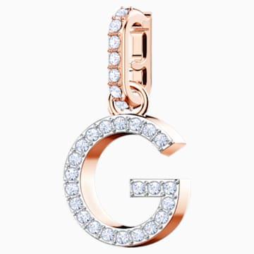 Přívěsek G z kolekce Swarovski Remix, bílý, pozlacený růžovým zlatem - Swarovski, 5437614