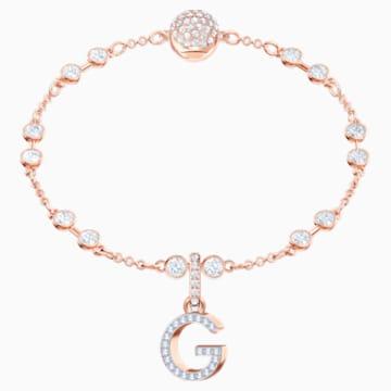 Swarovski Remix kollekció G betű charm, fehér, rozéarany árnyalatú bevonattal - Swarovski, 5437614