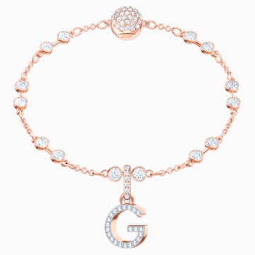 Talisman G Swarovski Remix Collection, alb, placat în nuanță de aur roz - Swarovski, 5437614