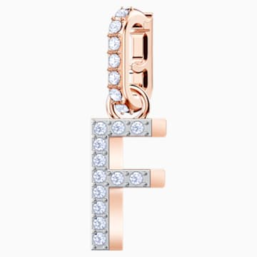 Swarovski Remix Collection Charm F, Белый Кристалл, Покрытие оттенка розового золота - Swarovski, 5437616