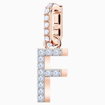 Swarovski Remix Collection Charm F, 白色, 镀玫瑰金色调 - Swarovski, 5437616