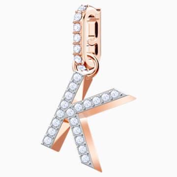 Φυλαχτό K από τη Swarovski Remix Collection, λευκό, επιχρυσωμένο με ροζ χρυσό - Swarovski, 5437619
