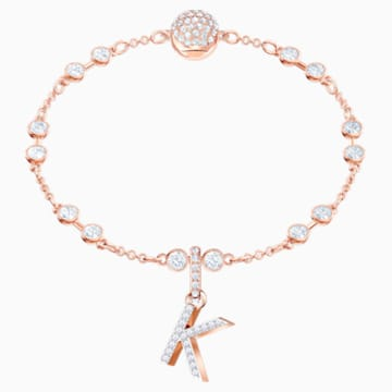 Swarovski Remix Collection Charm K, White, Rose-gold tone plated - Swarovski, 5437619