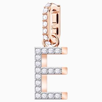 Swarovski Remix Collection Charm E, blanco, Baño en tono Oro Rosa - Swarovski, 5437621