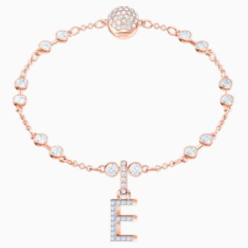 Swarovski Remix Collection Charm E, White, Rose-gold tone plated - Swarovski, 5437621