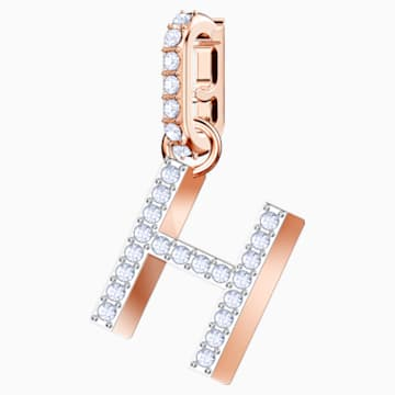 Swarovski Remix Collection Charm H, White, Rose-gold tone plated - Swarovski, 5437622