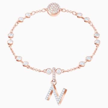 Swarovski Remix kollekció N betű charm, fehér, rozéarany árnyalatú bevonattal - Swarovski, 5437623