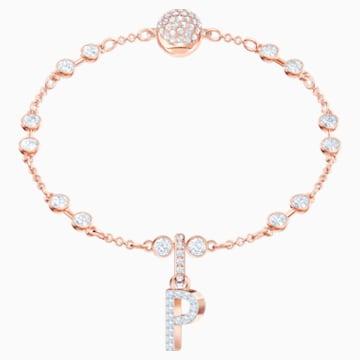 Swarovski Remix Collection Charm P, Белый Кристалл, Покрытие оттенка розового золота - Swarovski, 5437625