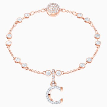 Swarovski Remix Collection Charm C, blanc, Métal doré rose - Swarovski, 5437626