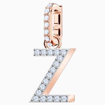 Swarovski Remix Collection Charm Z, Белый Кристалл, Покрытие оттенка розового золота - Swarovski, 5437627