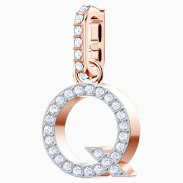 Swarovski Remix Collection Charm Q, White, Rose-gold tone plated - Swarovski, 5437628