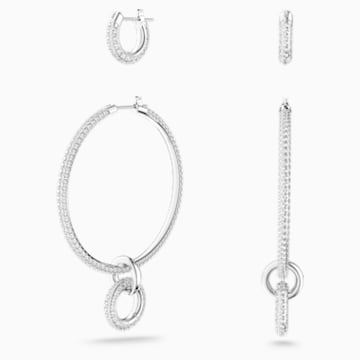 Parure de boucles d'oreilles Stone, blanc, Métal rhodié - Swarovski, 5437971
