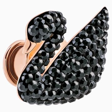 Iconic Swan Brooch, Black, Rose-gold tone plated - Swarovski, 5439869
