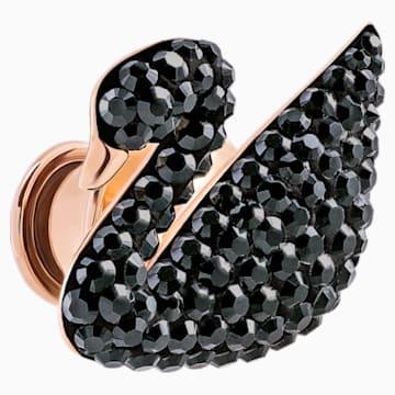 Spilletta Iconic Swan, nero, placcato oro rosa - Swarovski, 5439869