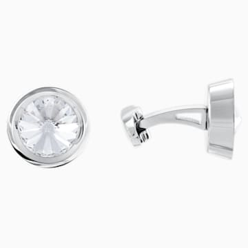 Round Cufflinks, White, Stainless steel - Swarovski, 5440319