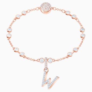 Swarovski Remix Collection Charm W, blanc, Métal doré rose - Swarovski, 5440422