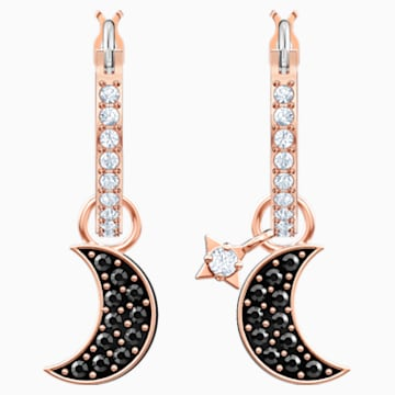 Swarovski Symbolic Moon Hoop Pierced Earrings, Black, Rose-gold tone plated - Swarovski, 5440458