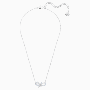 Lifelong Bow 項鏈, 白色, 鍍白金色 - Swarovski, 5440643