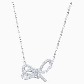 Lifelong Bow Necklace, White, Rhodium plated - Swarovski, 5440643