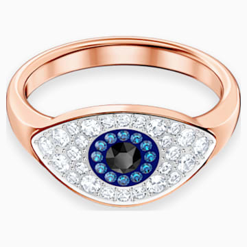 Swarovski Symbolic Evil Eye Ring, Blue, Rose-gold tone plated - Swarovski, 5441193
