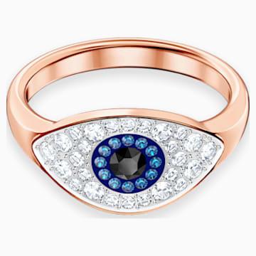 Anillo Swarovski Symbolic Evil Eye, azul, baño en tono oro rosa - Swarovski, 5441202