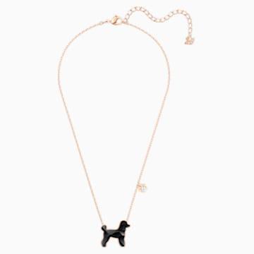 Pets Pudel Necklace, Black, Rose-gold tone plated - Swarovski, 5446973