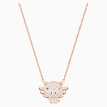 Little Pig Necklace, Multi-colored, Rose-gold tone plated - Swarovski, 5446986