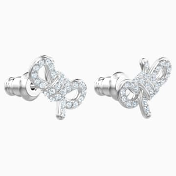 Lifelong Bow Pierced Earrings, White, Rhodium plated - Swarovski, 5447080